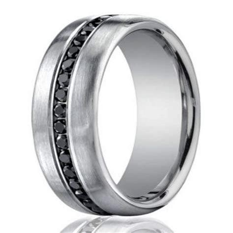 7.5mm Men?s 950 Platinum Black Diamond Eternity Wedding