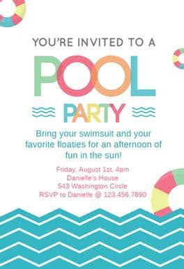 Fun Afternoon   Pool Party Invitation Template (Free