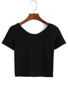 Scoop Neck Crop Black T-Shirt