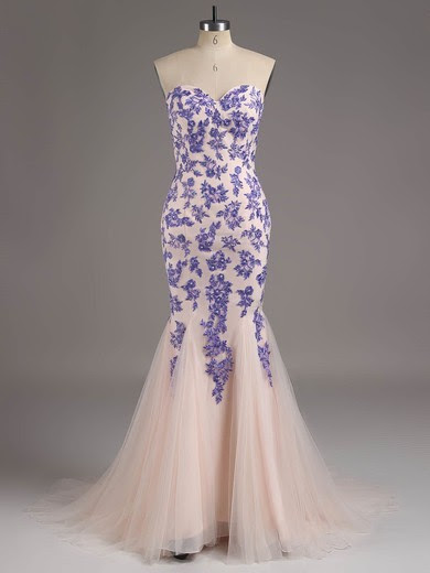A-line Sweetheart Tulle Sweep Train Beading Prom Dresses #02015311