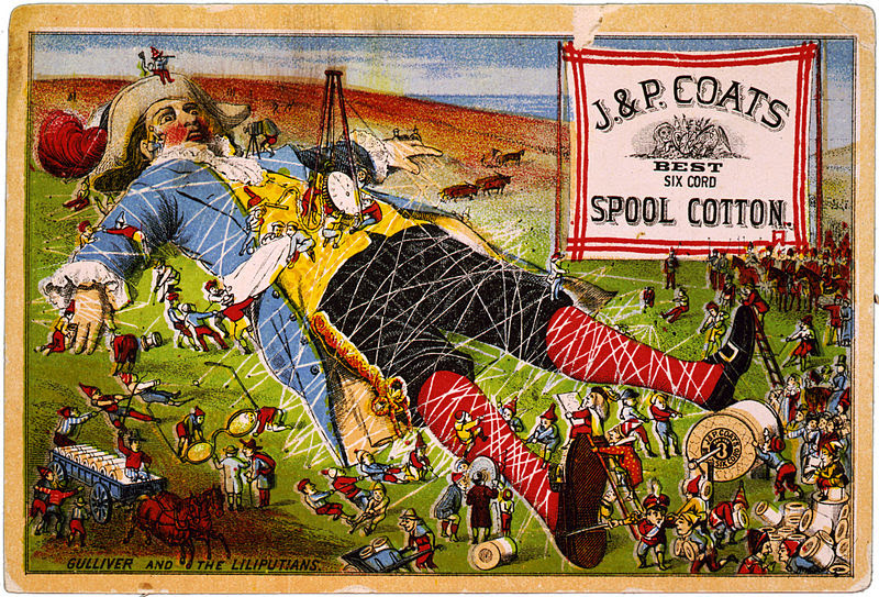 Gulliver and the Liliputans, trade card for J. & P. Coats spool cotton, late 19th c