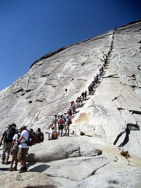The chains on Half Dome in Yosemite