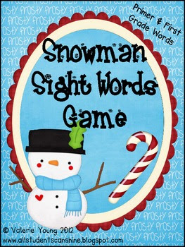 Snowman Sight Words Games