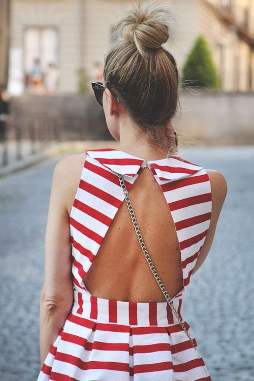 Open Back Red & White Striped Dress