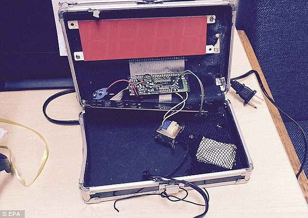 When Mohamed's clock (pictured) started beeping in class, police were called and he was arrested. No charges were filed, but the teen was suspended for three days