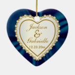 True Love Wedding Couple in Gold & Dark Blue Satin Double-Sided Heart Ceramic Christmas Ornament