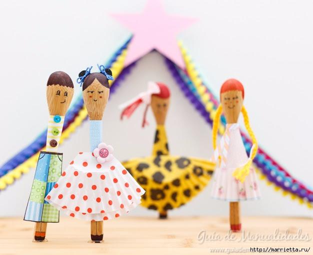 Bambole di cucchiai di legno e bicchieri per dolci (1) (626x511, 161KB)