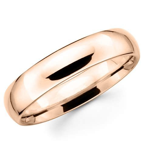14K Solid Rose Pink Gold 5mm Comfort Fit Men's and Women's