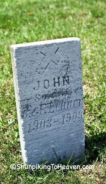 Gravestone of John Lehner, 1903-1909, (Died of Diptheria), Old St. Luke's Cemetery, Plain, Wisconsin