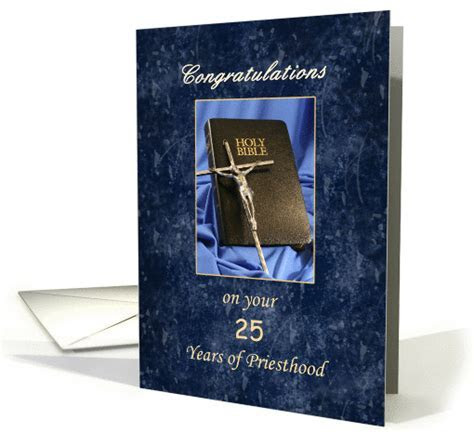 Priesthood 25 Year Anniversary Greeting Card Silver