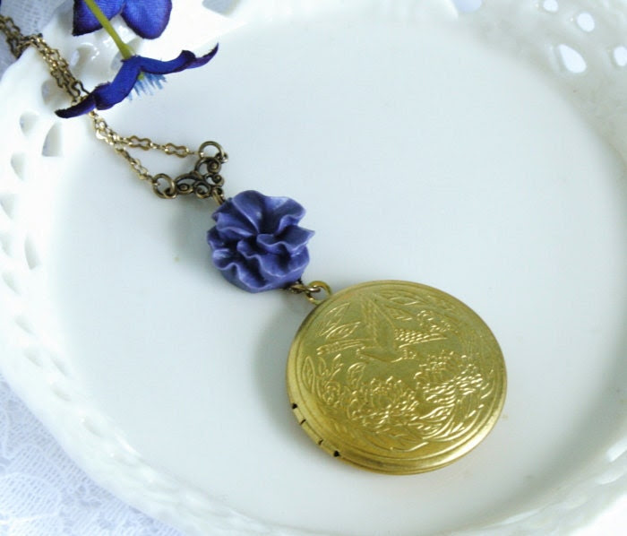 Photo Locket Necklace Deep Purple Flower - Romantic Gift For Your Loved One