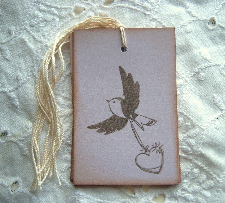BIRD Hang Tags - Lavender, Flying, Heart, Love