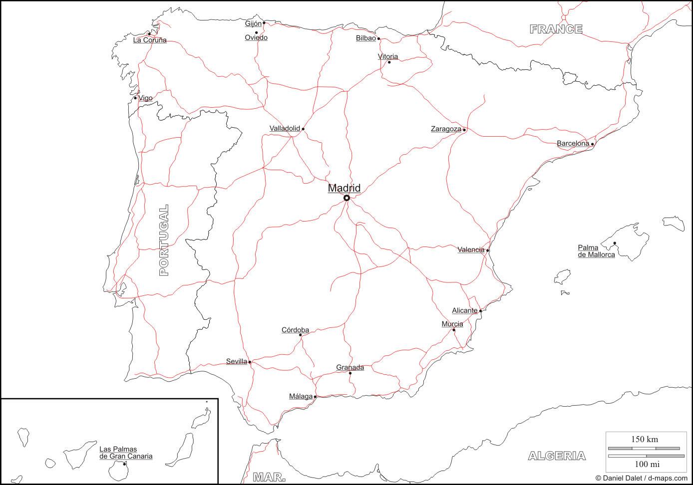 Carte Espagne Vierge Noms Villes Carte Vierge De Lespagne Avec Les