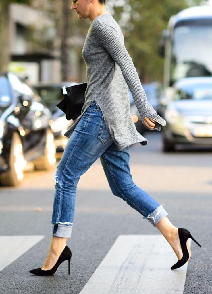 Le Fashion Blog -- 2 Ways: Ribbed Grey Side Slit Sweater With Denim And Heels -- Paris Fashion Week Street Style Via W Mag -- photo Le-Fashion-Blog-2-Ways-Ribbed-Grey-Side-Slit-Sweater-Denim-Heels-Paris-Fashion-Week-Street-Style-Via-W-Mag.jpg