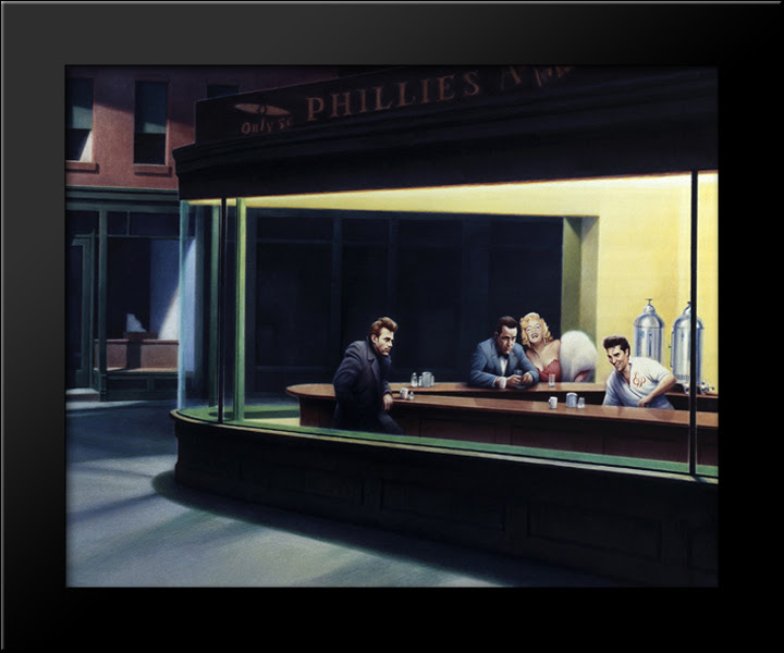 Nighthawks James Dean Marilyn Monroe Elvis Presley 16x13 Framed Art