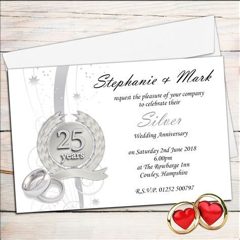 anniversary invitations : 25th silver wedding anniversary