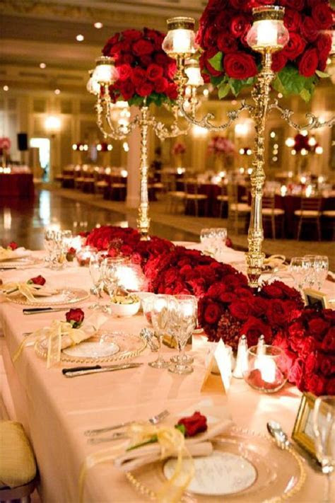 red and gold table settings and decorations   Deer Pearl