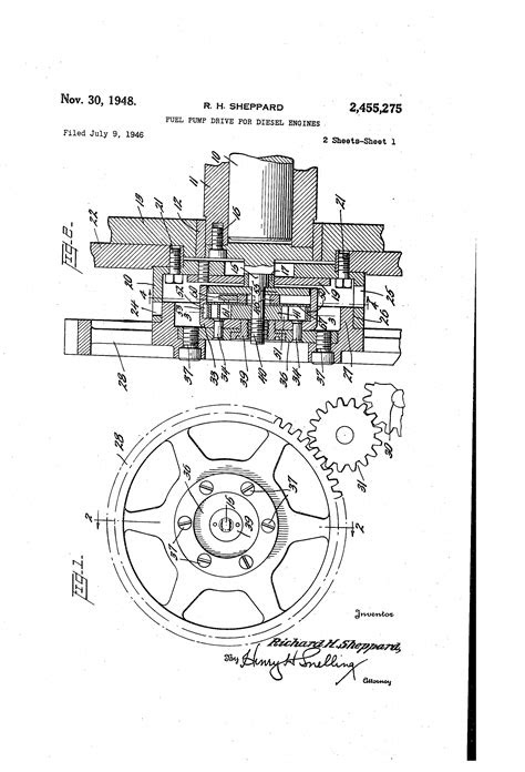 Patent US2455275 - Fuel pump drive for diesel engines