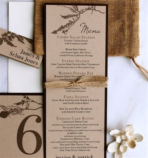 Rustic Wedding Menu Card, Personalized Placecards, Tented