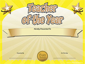 Free Teacher of the Year Award Certificate Template