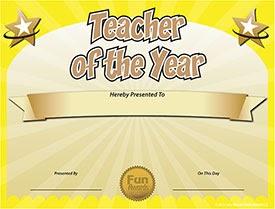 Funny Award Ideas Free Teacher Of The Year Award