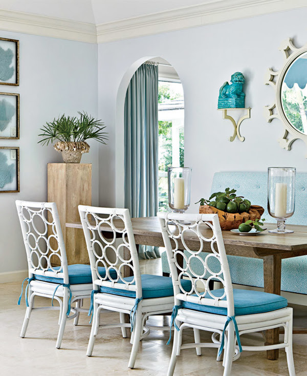 dekorasyon-turkuaz-Turquoise -mavi-beyaz-sandalye-yemek masasi