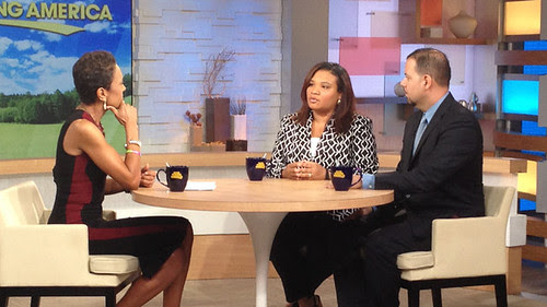 Robin Roberts, left, with Juror B29 from the George Zimmerman trial, center, and attorney David Chico on Good Morning America in New York on Thursday, July 25, 2013. by Pan-African News Wire File Photos