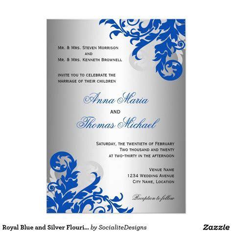 Royal Blue and Silver Flourish Wedding Invitation   Zazzle