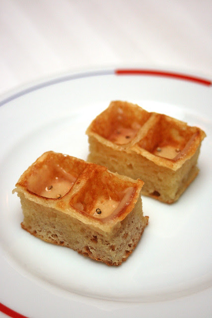 Waffle with parmigiano cheese and black pepper