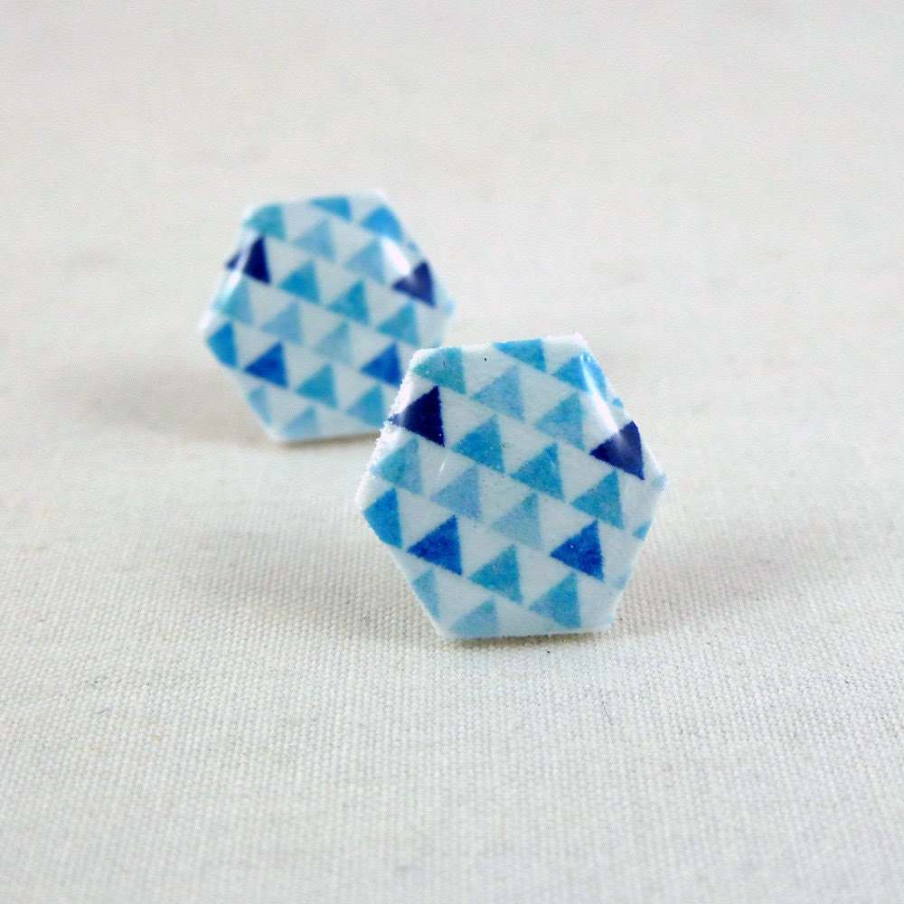 Hexagon Earrings - Geometric Triangles - Blue - Surgical Steel Posts Hypoallergenic