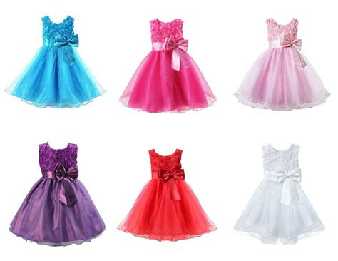 girls bridesmaid dress baby flower kids party rose bow