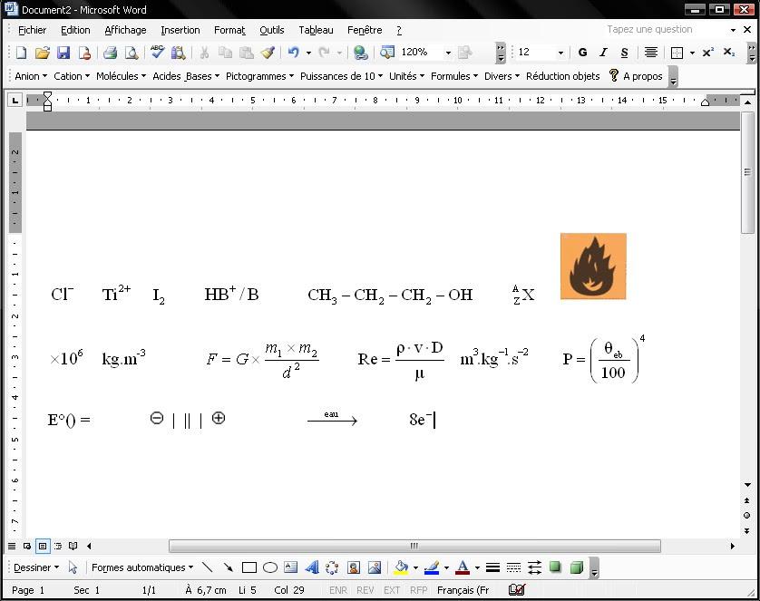 برنامج لدمج الصيغ الكيميائية مع WORD لتسهيل كتابة الرموز الكيميائية Modèle de document Word pour sciences physiques