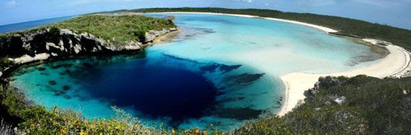 Dean's Blue Hole, the world's deepest known underwater sinkhole, can be found on Long Island in The Bahamas.