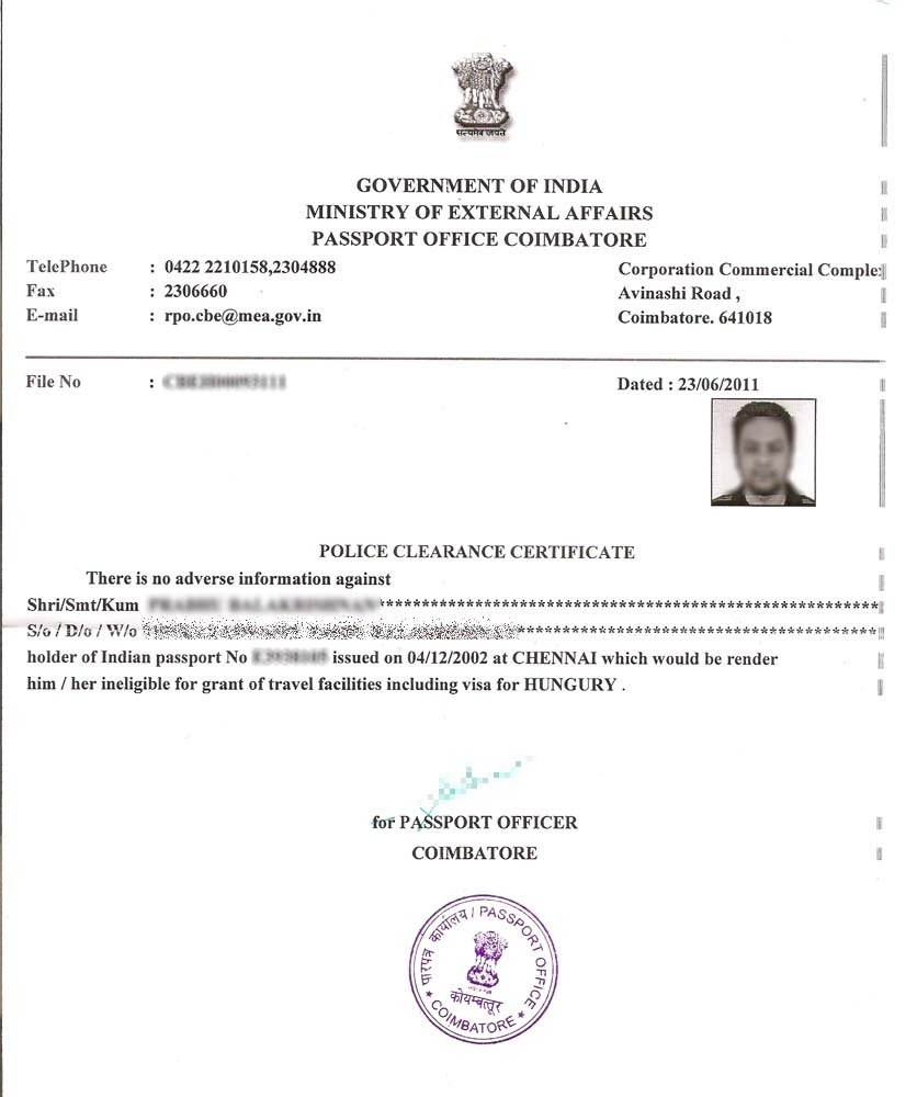 Police Clearance Certificate Rontika Enterprise