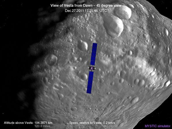 A computer-generated image depicting the Dawn spacecraft's current position above asteroid Vesta.
