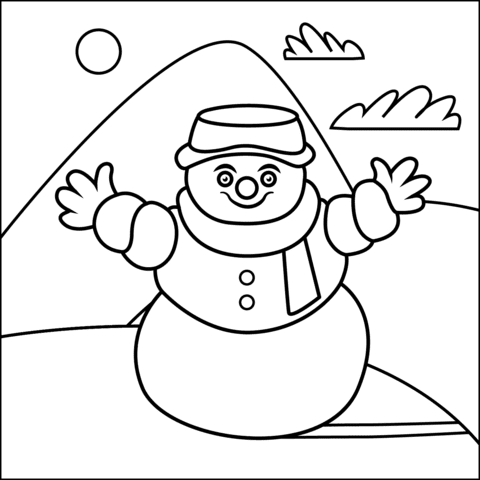 Free Coloring Pages For Kids Snowman Drawing With Crayons