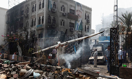 Damage in the aftermath of the destruction caused through a military attack on two encampments in Cairo opposing the coup against President Mohamed Morsi. Over 500 have been confirmed dead by the government. by Pan-African News Wire File Photos
