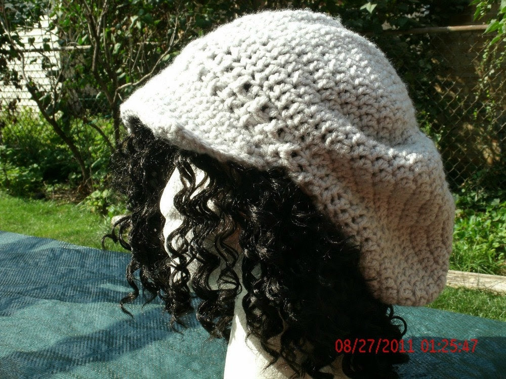 Hand Crocheted Hat - The Newsboy Slouch in Gray - Crochet Slouch Hat