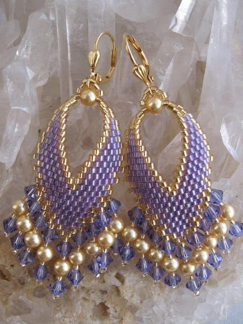 Seed Bead Earrings  SALE   Russian Leaf  Purple by pattimacs