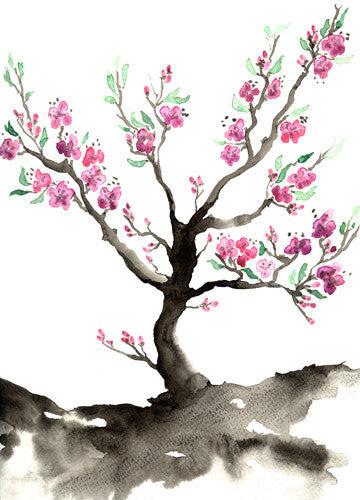 Watercolor Painting Sakura Tree Cherry Blossom Art Nature Sumi E