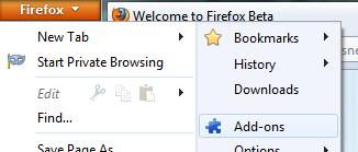 Firefox add-ons menu