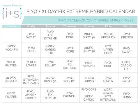 piyo   day fix extreme hybrid workout calendar