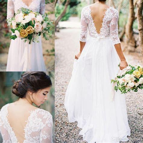 2016 Spring Boho Sheath Wedding Dress With Sheer Long