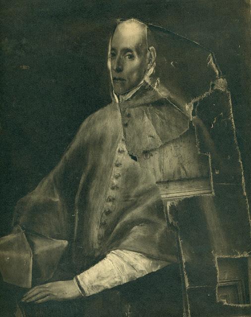 Retrato del Cardenal Tavera por el Greco destruido en la Guerra Civil. Fotografía de Pelayo Mas Castañeda. Causa de los mártires de la persecución religiosa en Toledo