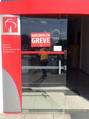 Paralisação atinge bancos públicos e privados em todo o Rio Grande do Norte (Foto: Rafael Pereira/G1)