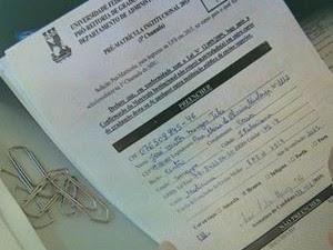 Registro da pré-matrícula na UFS (Foto: Reprodução/TV Sergipe)