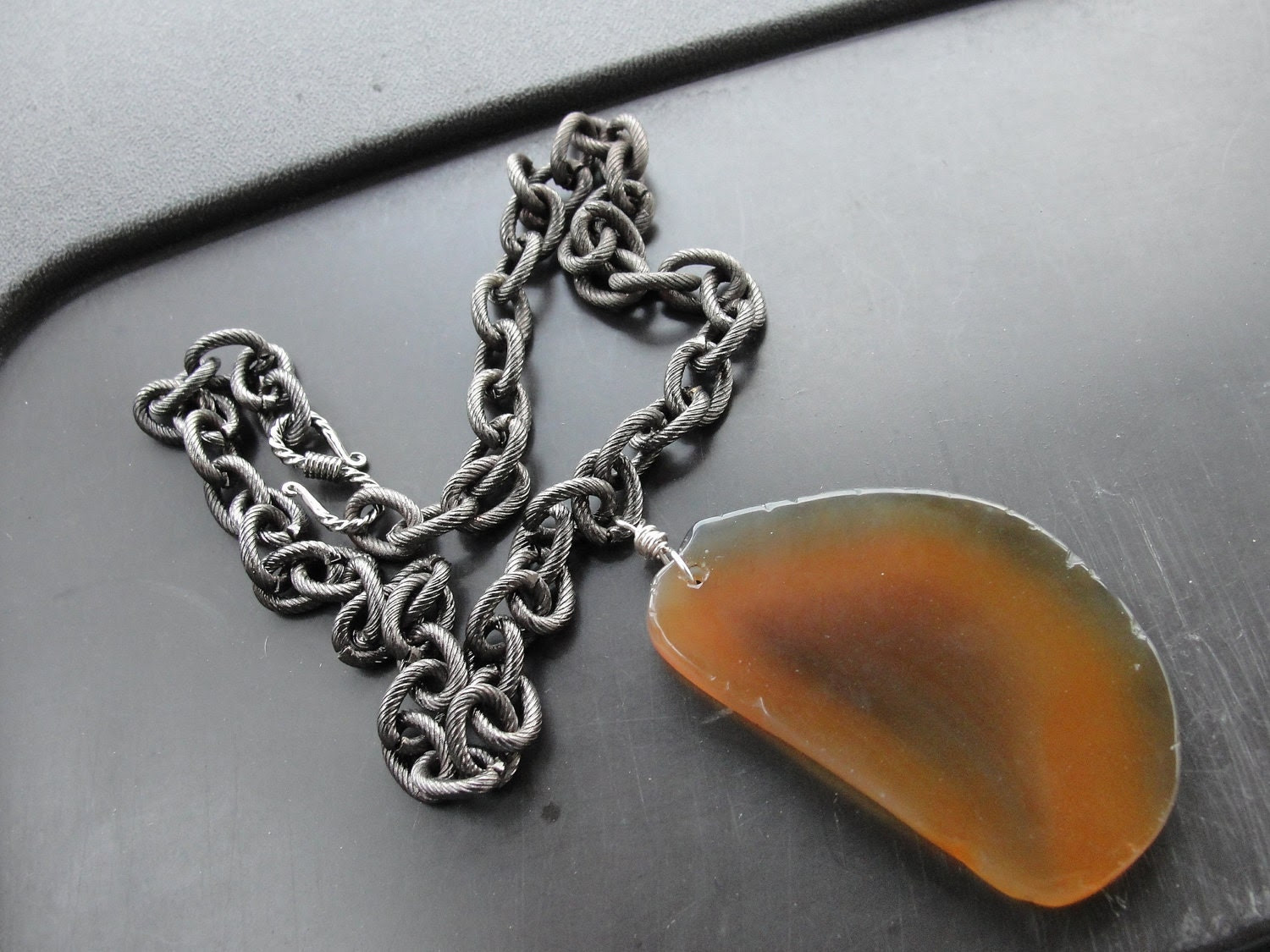 Caramel Brown Agate Slice Pendant Iron Chain Necklace