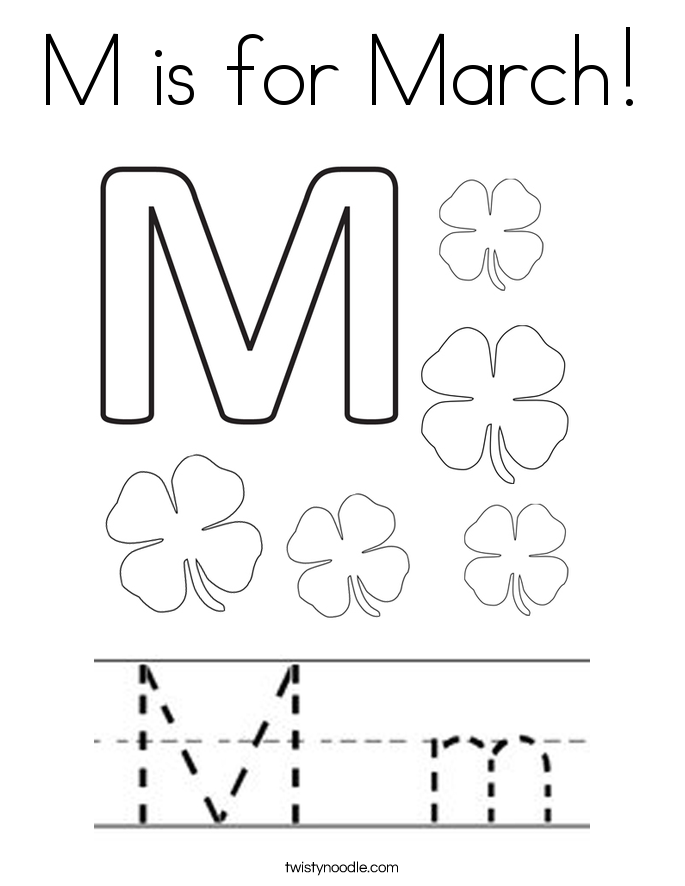 M is for March Coloring Page - Twisty Noodle
