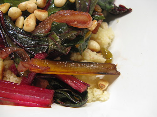 Swiss Chard with Caramelized Onions, Pine Nuts & Sultanas