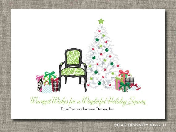 Personalized Holiday Card - Antique Deco Christmas - Set of 12 flat cards